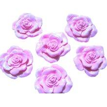 6 Large Glittered Roses Birthday Wedding Cupcake Cake Decorations