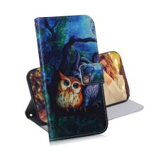 Phone Case For OPPO A54 5g magnetic wallet PU leather flip cover with Owl