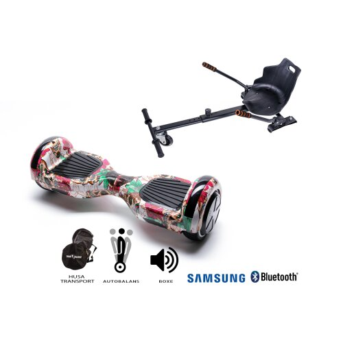 Package Hoverboard Smart Balance™ Premium Brand,Regular SKULL COLOR +Hoverseat,6.5 inch Bluetooth wheels,Samsung battery,Built-in speakers,700W,LED