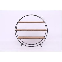 50Cm Round Wire Wood Shelf Unit Home Office Decoration