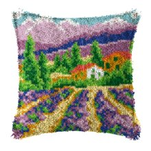 """Latch Hook Complete Cushion Cover Kit """"Lilac Fields""""43x43cm"""