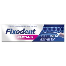 Fixodent Partials 0% Premium Denture Adhesive Microseal, Strong Natural Hold 40g