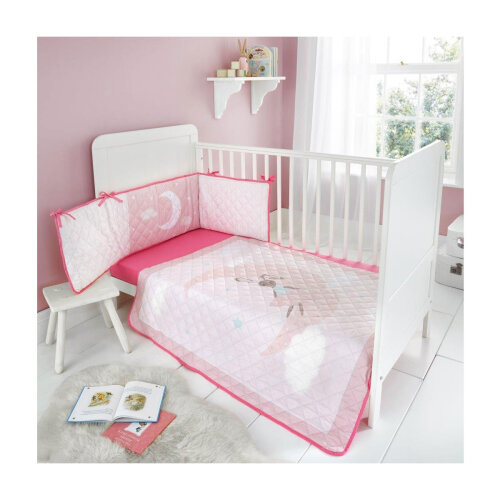 (Bunny Moon) Kids Cot Bed Bumper Set Soft Cosy Coverlet Premium Quilted Jersey Fitted Sheet