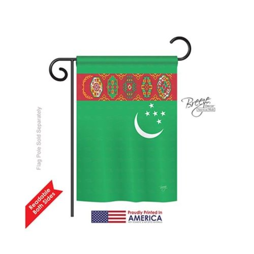 Breeze Decor 58224 Turkmenistan 2-Sided Impression Garden Flag - 13 x 18.5 in.
