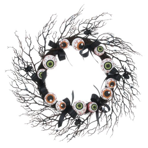 Halloween Wreath With Glittery Twigs And Scary Eyeballs