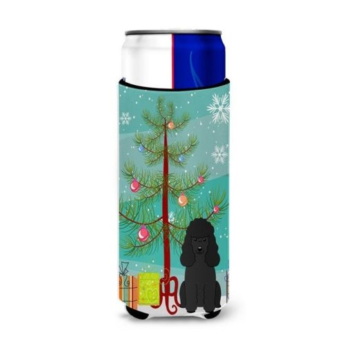 Merry Christmas Tree Poodle Black Michelob Ultra Hugger for Slim Cans