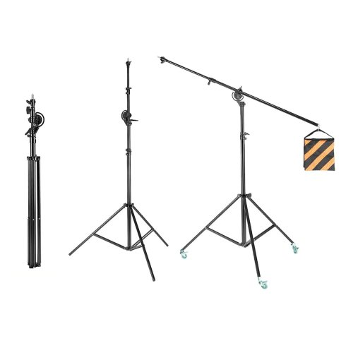 3.9m 2-in-1 Light Stand Boom Arm Two Way Rotatable Adjust Tripod + Sandbag