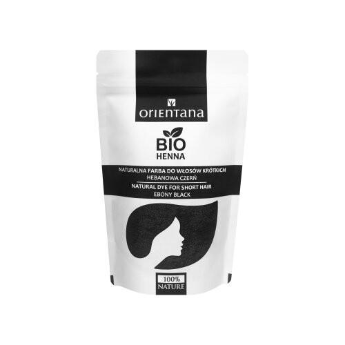 Orientana - BIO HAIR HENNA EBONY BLACK for short hair- 100% Vegan & Herbal - dyes hair permanently - gives shine & volume - black colour, 50g