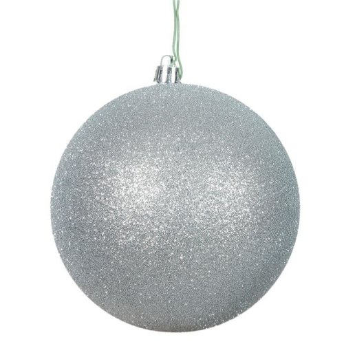 Vickerman N591007DG 4 in. Silver Glitter Ball Christmas Ornament - 6 Per Bag