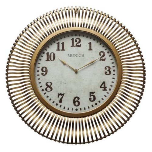 Yosemite 5140008 Munich in Antique Gold Wall Clock, Gold