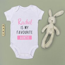 Personalised Baby Grow - Favourite Auntie/Uncle - PINK