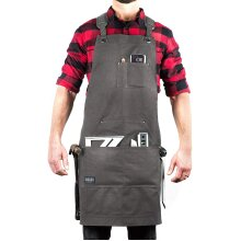 Hudson Durable Goods - Deluxe Edition (Grey) - Waxed Canvas Tool Apron