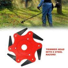 6 Steel Blades Grass Trimmer Razors Head Lawn Mower Weed Cutter Tool