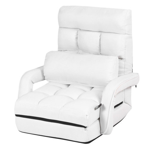 2 IN 1 Folding Lazy Sofa Lounger Floor Gaming Armchair Bed Recliner