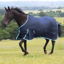 Gallop Cotton Navy Sky Blue Horse Pony Summer Sheet