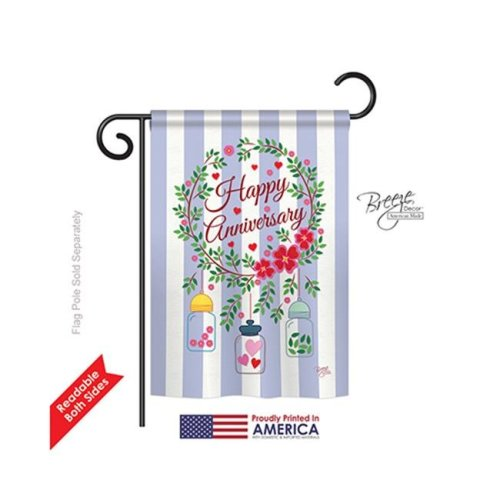 Breeze Decor 65103 Happy Anniversary 2-Sided Impression Garden Flag - 13 x 18.5 in.