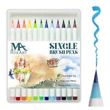 Brush Pens Set - 12 Colours - Soft Flexible Real Brush Tip Marker Pens, Durable, Premium Grade - Create Watercolour Effect - Ideal for Adult...