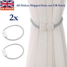 2Pcs Magnetic Curtain Strap Buckle Holder Pearl Beads Tie Backs Clips Home Décor