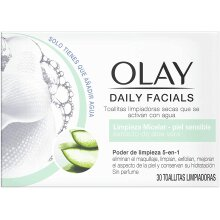 Olay Daily Facials 5-in-1 Water Activated Dry Cloths - Micellar Clean for Sensitive Skin with Aloe Vera Le