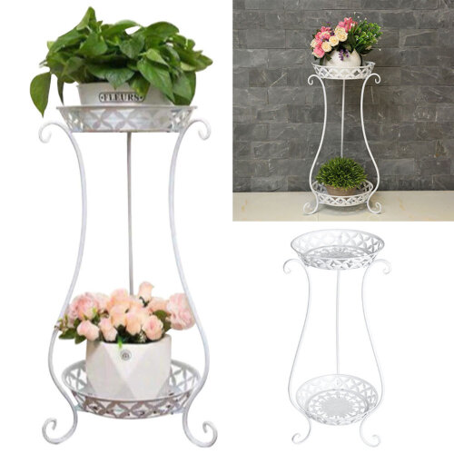 (White) 2 Tier Metal Iron Flower Plant Pot Display Stand Shelf
