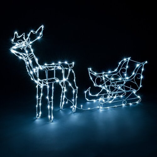 Light Up Reindeer Sleigh Outdoor Christmas Decoration White Wire Flashing LED