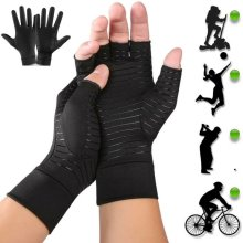Copper Compression Gloves For Arthritis Carpal Tunnel Hand Support Pain Relief