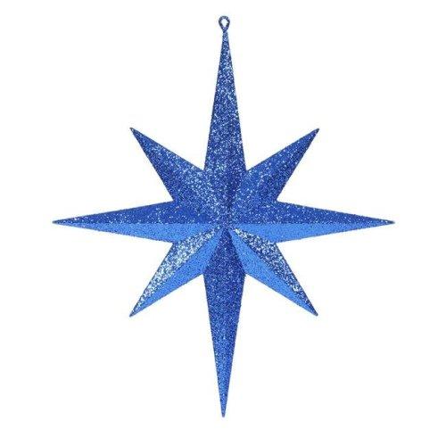 Vickerman M167502 Blue Glitter Bethlehem Star Ornament, 15.75 in.