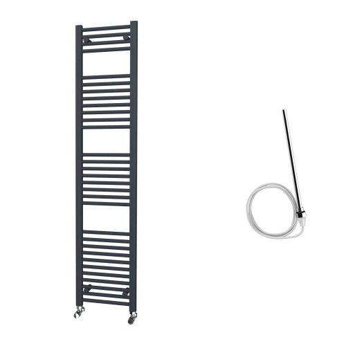 HB Essentials Zena Anthracite Straight Ladder Heated Towel Rail 1800mm x 400mm Electric Only - Non-Thermostatic