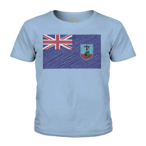 (Sky Blue, 7-8 Years) Candymix - Montserrat Scribble Flag - Unisex Kid's T-Shirt
