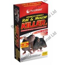 4 x 20g RAT MOUSE POISON BAIT KILLER -ADVANCED FORMULA-RODENTS CONTROL