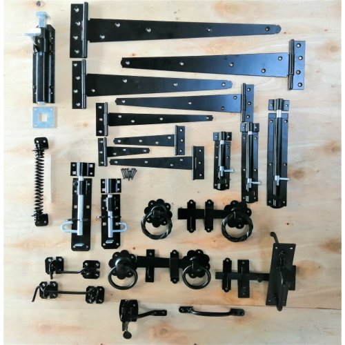 Garden Gate Accessories Metal Fixing Latch T Hinges Spring Closer Bolt Black