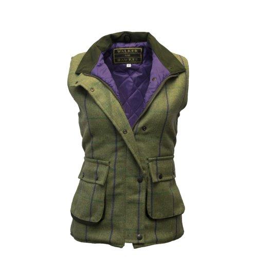 Walker & Hawkes - Ladies Derby Tweed Shooting Waistcoat Country Gilet - Purple Stripe 8-24