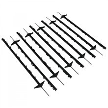 Oypla 1m Black Plastic Electric Temporary Fence Fencing Pins Posts Stakes Pack of 10