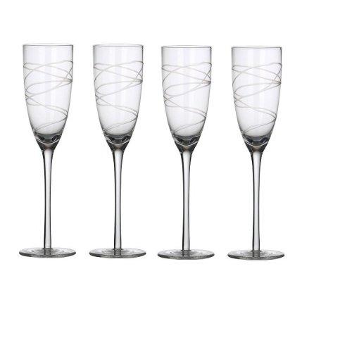 4pc Ella Engraved Champagne Flutes