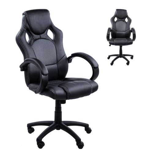 Homcom Racing Office Chair PU Leather Executive Swivel Adjustable (Black - Green/Grey)