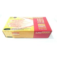 2 BOX OF 100 PCS LARGE SUPERTOUCH DISPOSABLE NON STERILE RED VINYL GLOVES HYGIENE POWDERED