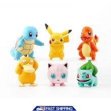 6pcs Pokemon Pikachu Figures Toys Display Cake Toppers Kids Party