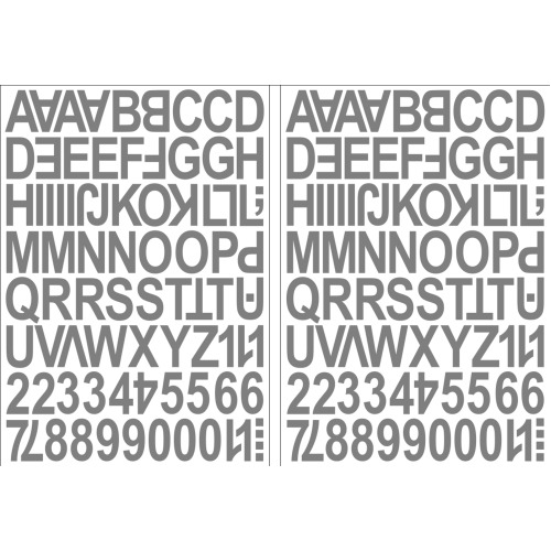 (Silver) Alphabet Letters & Numbers Stickers Label Peel Off Sticky 2.5cm High Mixed