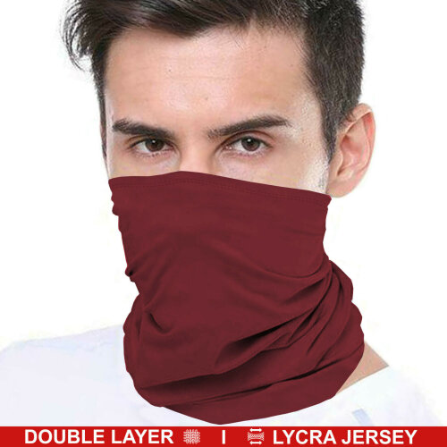 (Burgundy (Double Layer)) Bandana Face Covering Mask Biker Tube Snood Scarf Neck Cover