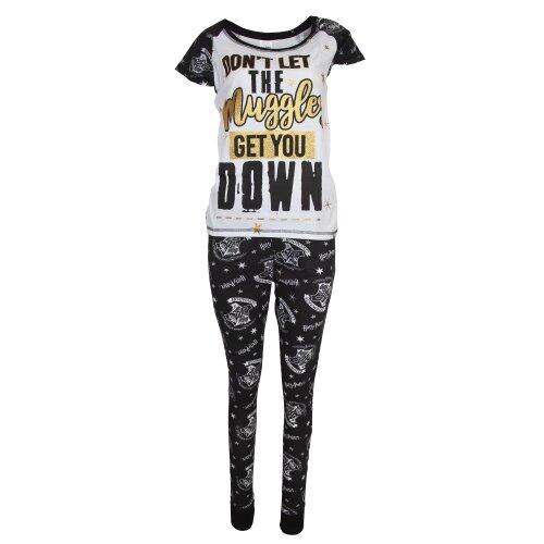 (8-10 UK, White/Black) Harry Potter Womens/Ladies Dont Let The Muggles Get You Down Cotton Pyjama Set
