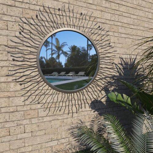vidaXL Garden Wall Mirror Sunburst 80cm Black Outdoor Window Illusion Decor