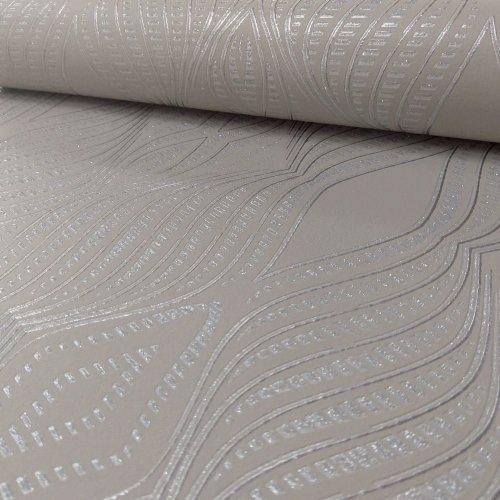 Debona Jewel Diamond Stripe Pattern Wallpaper Silver Metallic Glitter Embossed[TAUPE 2471]