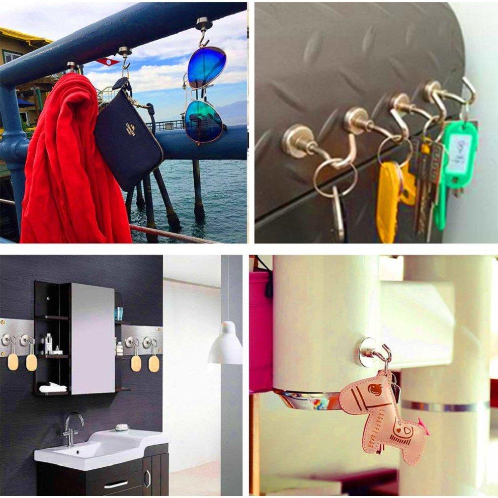 SANLINKEE Magnetic Hooks, Magnet Hooks Super Strong Magnetism 34KG /  74.96LB Heavy Duty Magnetic Hook Hanging Hooks for Indoor or Outdoor, 6  Pack on OnBuy