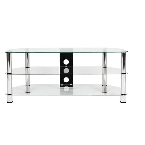 (Clear Glass / Silver Leg) Mountright Modern Large Glass TV Stand 120 CM Wide