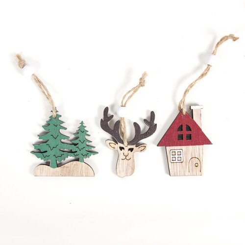 (Tree/House/Elk) Car/Tree/Elk XMAS Tree Hanging Decoration Ornament
