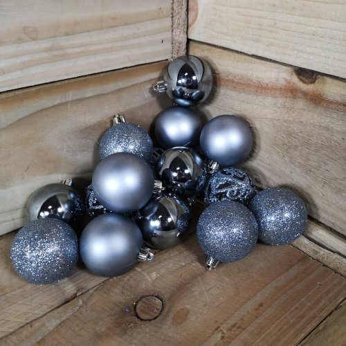 16 x 6cm Christmas Blue Stone Glitter Gloss And Matte Baubles Tree Decorations