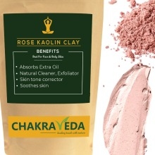 Rose Kaolin Clay, Best for Skin, 100g by ChakraVeda, 100% Natural
