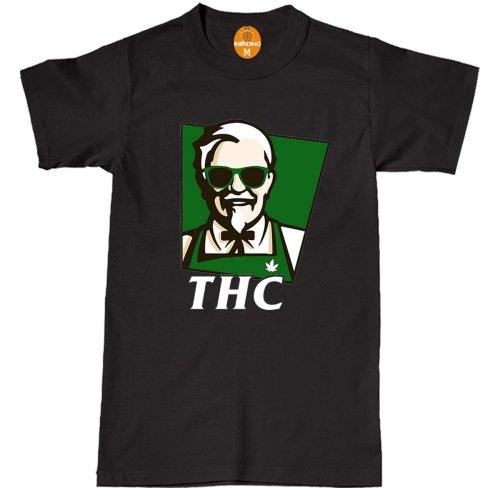 (S, BLACK) THC KFC T-SHIRT MARIJUANA WEED TOP
