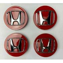 HONDA CHROME RED Alloy Wheel Center Hub Caps Emblem ACCORD CIVIC R (4)