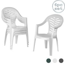 Garden Dining Chairs Resol Palma Outdoor Plastic Armchair BBQ Seating White x6